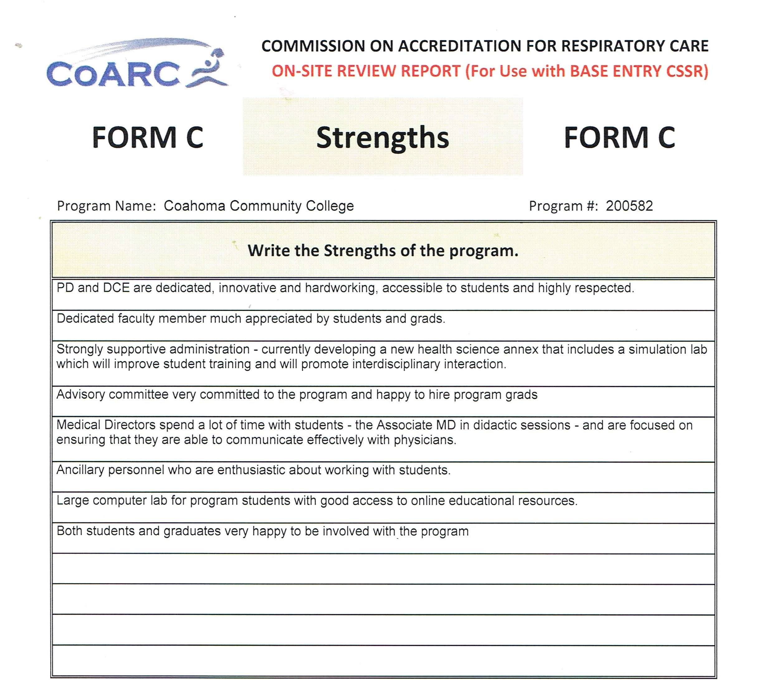 CoARC Site Visit Review - Strengths 10-2016
