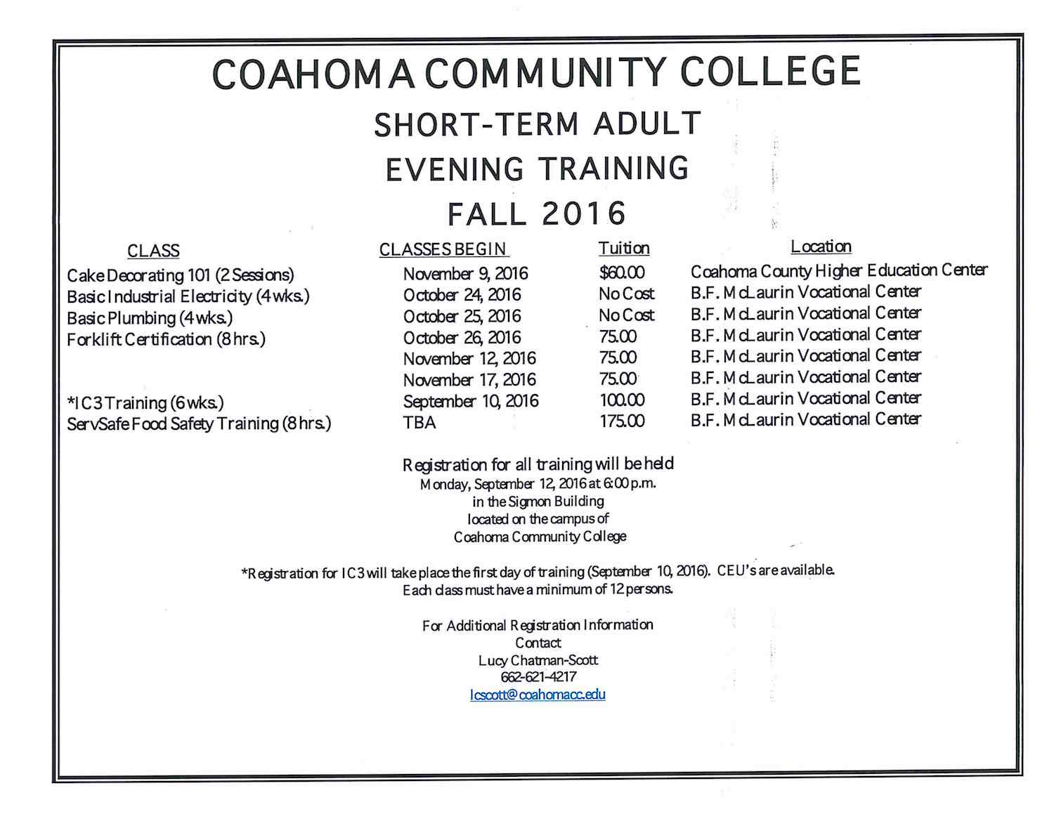 Ccc offering wide range of short term adult evening trainings cfakepathccc fall 2016 short term trainingg 1betcityfo Images