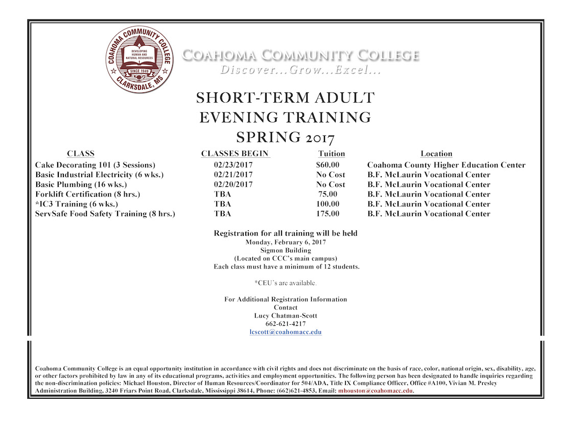 Ccc Announces Variety Of Short Term Classes Open To The Community